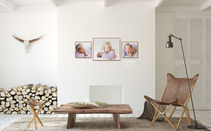 Wall art, newborn photography, bamboo frames, print newborn photos, newborn photo ideas, newborn photo frames