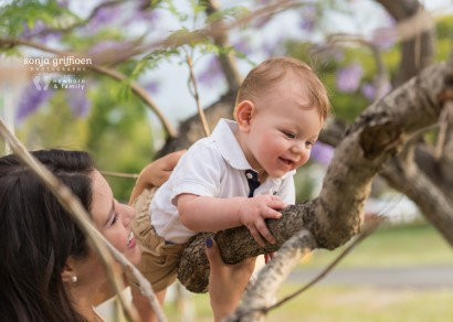 Brisbane young family, family session, jacarandas, milestone, baby, mommy and me