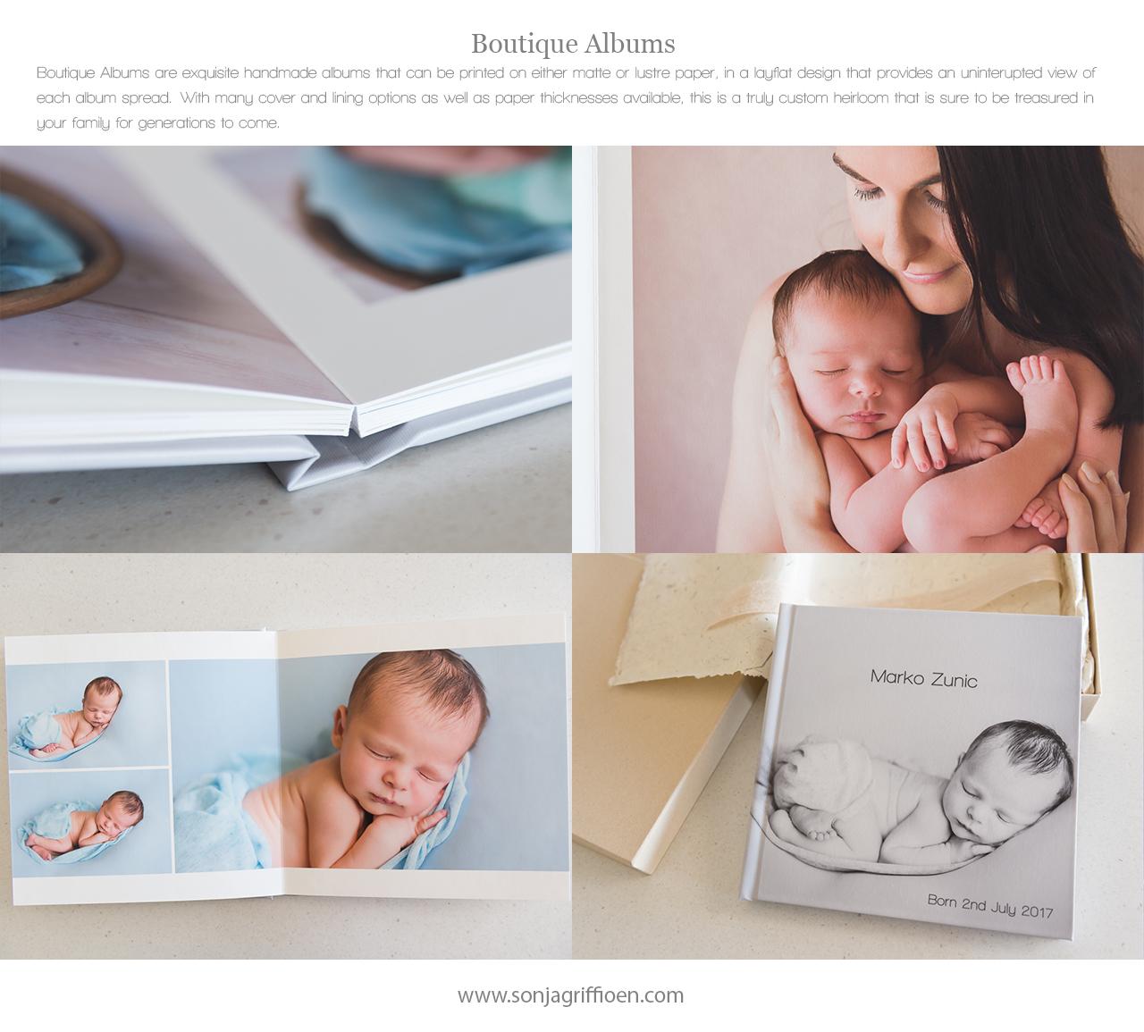 Newborn albums, printed photography, professional newborn photography Brisbane, Brisbane newborn photographer Sonja Griffioen